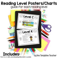 Reading Level Posters/Charts that explain the characteristics of  leveled texts for teachers, students, guided reading groups, and parents.  Guided Reading Levels, DRA Reading Levels, and Reading Recovery Levels.  The Template Teacher
