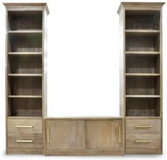 oly carson media cabinet and shelves - love the driftwood and pulls