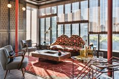 San Francisco Proper Hotel by Kelly Wearstler. Colourful mix of furnishings in hotel lounge