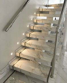 97 Most Popular Modern House Stairs Design Models 34 Stairs Ideas Design House M… Home Stairs Design, Interior Stairs, Dream Home Design, Home Interior Design, House Front Design, Modern House Design, Modern Stairs Design, Modern Houses, Marble Staircase