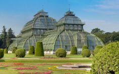 Palm House at Schoenbrunn Palace, Vienna, Austria The visit to the palace was one of my most favorite experiences on my trip to Europe at Interesting Buildings, Beautiful Buildings, Beautiful Places, Visit Austria, Vienna Austria, Places Around The World, Travel Around The World, Places To Travel, Places To See