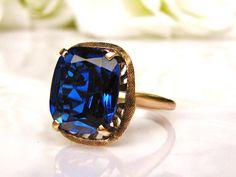 Art Deco Blue Spinel Ring Unique by LadyRoseVintageJewel on Etsy