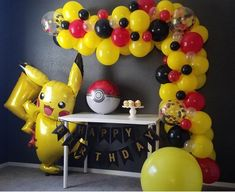 Our balloon garland kit will help make your party the talk of the town! do it yourself, we provide everything you need to create a beautiful backdrop for your celebration. This kit is ideal for Pokemon and Pikachu themed parties! Pokemon Party Decorations, Birthday Party Decorations, Party Themes, Party Ideas, Balloon Decorations, Pokemon Themed Party, Pokemon Birthday Cake, Festa Pokemon Go, Pokemon Pokemon