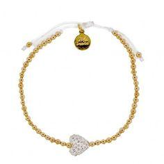 Swarovski Heart Charm Bracelet in White