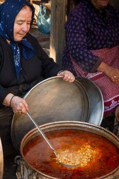 Cooking Fasolada for the nameday of the Virgin Mary, Lofou, Greece
