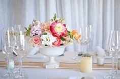 Coral & pastel centrepiece   SouthBound Bride   http://www.southboundbride.com/sweet-summer-pastel-south-hill-wedding-kathryn-van-eyk-elena-john   Credit: Kathryn van Eck
