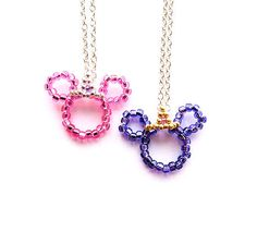 Princess Minnie Mouse Inspired Beaded Crown Necklace by MigotoChou, $16.00