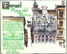 de vuelta con el cuaderno: Cuaderno Muaré (11.Teruel) Plaza del Torico