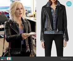 Liv's denim and leather layered jacket on iZombie.  Outfit Details: http://wornontv.net/53813/ #iZombie