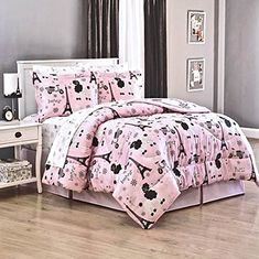 Girls PINK PARIS Chic EIFFEL TOWER French Poodle Vespa Scooters & Polka Dots 8pc QUEEN size Comforter & Sheet Set