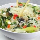 Rice Noodles with Shiitakes, Bok Choy, and Chiles