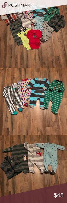 Boys size 3m clothing lot Includes. Carter's jacket. Carter's little explorer onesie. Carter's button up. Carter's wild about mom onesie. Carter's football onesie. Carter's fleece monkey sleeper. Carter's fleece little brother sleeper. Carter's fleece outfit. Carter's fleece sleeper. Carter's fleece outfit. Baby starters sleeper. Carter's sleeper. Carter's Pajamas