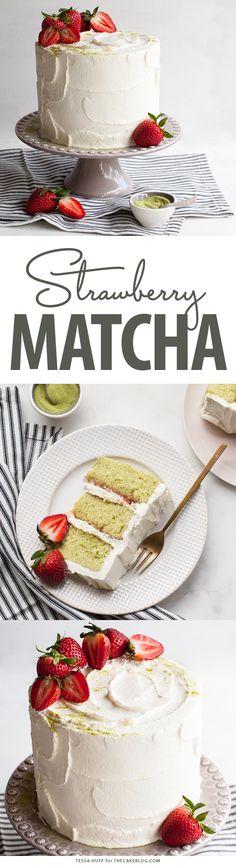 Matcha Strawberry Cake | by Tessa Huff for TheCakeBlog.com