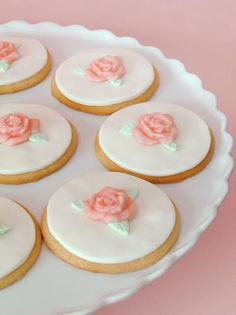 Rose Cookies... the roses would be precious on petit fors!!