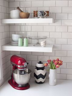 open shelving in a Montreal kitchen