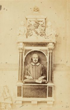 """Shakespeare's Funerary Monument, Collegiate Church of the Holy and Undivided Trinity, Stratford On Avon, Ernest Edwards, 1863.  Barker , Geoff. """"Shakespeare - His Birthplace, Home and Grave."""" State Library of NSW, State Library New South Wales , 17 Apr. 2018. New South, South Wales, Shakespeare, Holi, Avon, Statue, Holi Celebration, Sculptures, Sculpture"""