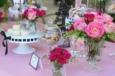 A domed dessert stand would be fun. Also love the idea of placecards