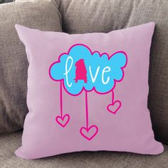 Pug love pillow. Available in multiple colors. Made in USA.