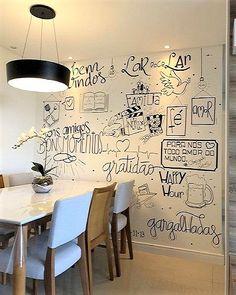 Sweet Home, Chalk Wall, Dinner Room, Modern Rustic Decor, Interior Decorating, Interior Design, Home Room Design, Cafe Interior, Home Decor Furniture
