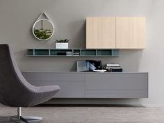 Sectional wall-mounted lacquered storage wall CITYLIFE 05 by Doimo CityLine