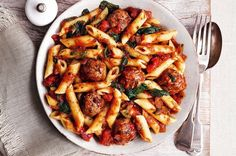 Slimming World meatballs and pasta in a spicy tomato sauce