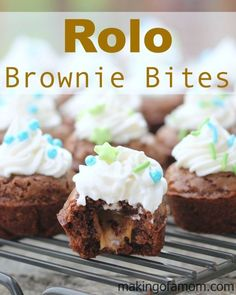 Rolo Brownie Bites - an easy and delicious bite sized dessert combining chocolate and caramel for the win!