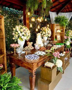 Rustic Wedding Desserts, Wedding Candy Table, Wedding Table Centerpieces, Diy Wedding Deco, Simple Wedding Decorations, Wedding Ideas, Rustic Candy Bar, Modern Rustic Decor, Photos