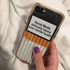 """""""social media seriously harms your mental health"""" Tumblr Phone Case, Diy Phone Case, Iphone Cases, Disney Diy, Cigarette Quotes, Rauch Fotografie, Cigarette Aesthetic, Aesthetic Phone Case, Pin On"""