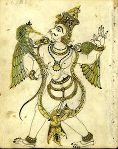 Garuda, the mythical mount of Vishnu. Place of Origin: India, Mysore, Karnataka state. Date: approx. 1825-1875. Materials: Ink and colors on paper