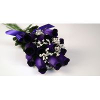 Scented Deep Purple Wax Dipped Roses