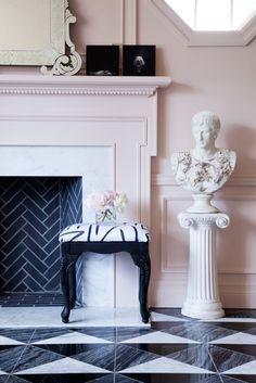 Christine Dovey | marble stone tile floor pattern fireplace