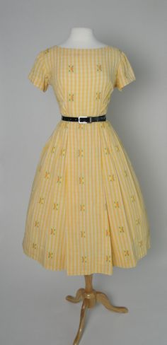 fe593f4670 Vintage 1950s 50s Cotton Day Dress with Full Skirt Yellow Stripes with  Flowers