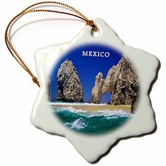 ** Instant discounts available : 3dRose orn_80687_1 Cabo San Lucas Mexico Snowflake Porcelain Ornament, 3-Inch at Christmas Home Decor .