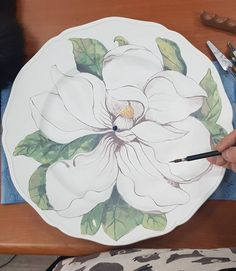 No picture description. Pottery Painting, Ceramic Painting, Ceramic Art, Ceramic Spoons, Ceramic Pottery, China Painting, Hand Painted Ceramics, Pictures To Draw, Botanical Art