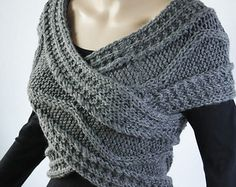 Super Slim - Cross Sweater/Capelet/Neck warmer in Dark Grey