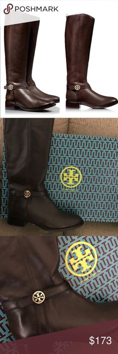 "Tory Burch Bristol Leather Riding Boot, Coconut Tory Burch Bristol Leather Riding Boot, Coconut.     MSRP $495.00.      Tory Burch brings you the ultimate versatility with this medallion-adorned riding boot. Smooth leather with golden hardware. Round toe; tonal topstitching. Leather harness strap with double-T medallion. Full inside zip for ease of dress. 1 1/2"" stacked heel. Padded footbed with logo fabric lining.    ⭐️ MSRP $495⭐️. Tory Burch Shoes"