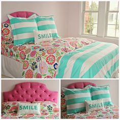 carolina on my mind: Hadley's Nursery/Big Girl Bedroom: Seaside Floral and Cottage Stripe Bedding