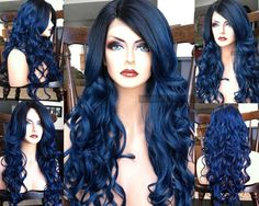 "U.S.A. // 23"" Dark Blue Wavy HEAT Ok Lace Front & Skin Part Ombre Wig w/ Pastel Black Dark Roots"