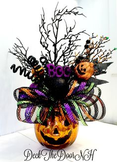 Pumpkin arrangement, Halloween arrangement, deco mesh pumpkin, Halloween table, Halloween Centerpiece, Witch boots by DeckTheDoorNH on Etsy