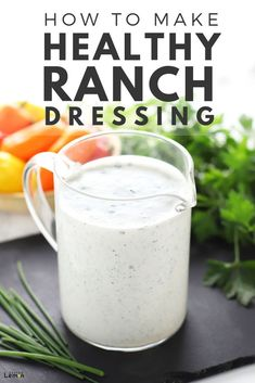 Low Unwanted Fat Cooking For Weightloss This Healthy Ranch Dressing Recipe Is Made With Greek Yogurt And Only Takes Five Minutes To Throw Together. The best part is that It Tastes Just Like Normal Ranch Yogurt Ranch Dressing, Healthy Ranch Dressing, Salad Dressing Recipes, Salad Recipes, Greek Salad Dressing Recipe Healthy, Keto Ranch Dressing Recipe, Greek Yogurt Ranch Dip, Yogurt Salad Dressings, Vinaigrette