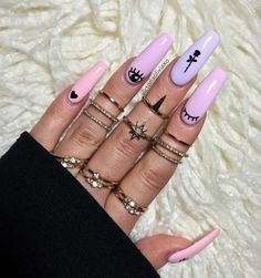 Made my nails look cute this afternoon Used 2 different nailcals from & 3 colours from Cloud 9 Collection ☁️ (Mile High Club, Up Up and Away, Come Fly With Me) Aycrlic Nails, Swag Nails, Hair And Nails, Coffin Nails, Best Acrylic Nails, Acrylic Nail Designs, Grunge Nails, Fire Nails, Dream Nails