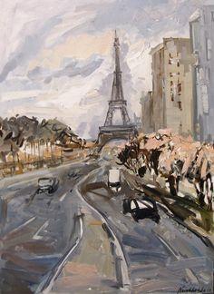 "Saatchi Online Artist: Olga Novokhatska; Oil, 2011, Painting ""Cityscape with Eiffel tower"""