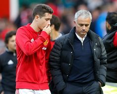Ander Herrera and manager Jose Mourinho at the end of the match