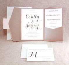 Wedding Invitation Set - Sophisticated elegance Graham Cracker Beige Pocket-fold Invite Set with Pale Pink on Ivory