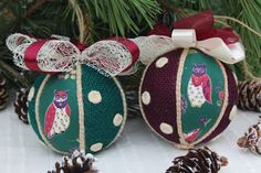 Christmas Handmade Hanging Ornaments, Handcrafted Baubles with Owls and Jute, Burlap Ornaments for Christmas Tree, Xmas Balls for Home Decor Burlap Ornaments, Handmade Ornaments, Hanging Ornaments, Ball Ornaments, Handmade Christmas, Christmas Owls, Christmas Wrapping, Christmas Ornaments, Cool Gifts For Kids