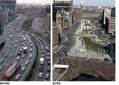 Boston Dig: How to slow down Traffic with Linear Parks, Turn-arounds & Narrow Streets Urban Landscape, Landscape Design, New Urbanism, Linear Park, Cities, Sustainable City, Sustainable Living, Public Realm, Smart City