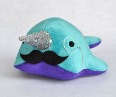 Narwhal Plush - with Mustache and Monocle - Medium - MADE TO ORDER (Choose colors)
