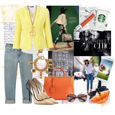 Fantasy Outfit#83 - #Street #Style Created by jinath-hyder on #polyvore #Weekend #MaxMara Mattino frayed boucle jacket, #H Blouse, Vintage #Chanel CC Cross Necklace, #UNIQLO Women Slim Boyfriend Fit Cropped Jeans, #CHANEL VINTAGE JEWELRY Gold-Plated Coco Charm Bracelet, #Dior Addict Gloss, #JimmyChoo Vero Colorblock Patent Leather Pump Nude/Black, #Fendi Small 2jours Tote, #Jimmy Choo Juliet Cats-Eye Metal Sunglasses, #Lalique de Lalique - Libellule