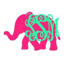 Elephant Monogram Decal Large Inital Decal by CustomCreationsByCP