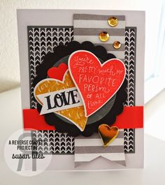 Card by Susan Liles. Reverse Confetti stamp set: Heart to Heart. Confetti Cuts: Heart to Heart and Circles 'n Scallops. Valentine's Day.